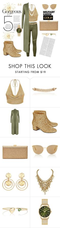 """""""military green gold"""" by agnesmakoni ❤ liked on Polyvore featuring Current/Elliott, Maison Mayle, WearAll, macgraw, La Regale, Mykita, Kenneth Jay Lane, Mattioli and Henry London"""