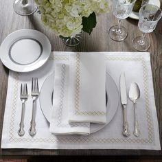 Perry Embroidered Linen Table Linens. SFERRA