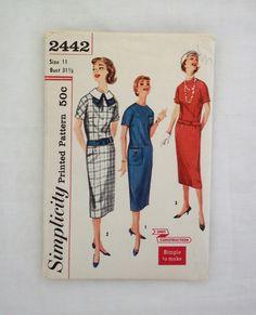 Vintage Simplicity dress pattern 2442 size 11 1958 sewing pattern teen drop waist sheath dress by ResourcefulGoods on Etsy