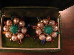 Vintage Signed Judy Lee Earrings Open Back Rhinestones Pearls Green Stones Clips #JudyLee #Cluster