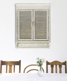 Loving this Distressed Cream Louvered Cabinet on #zulily! #zulilyfinds