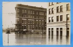 MARIETTA OHIO OH POSTCARD JAN 26 1937 FLOOD LAFAYETTE HOTEL FRONT STREET