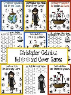 Christopher Columbus Roll and Cover Games {FREE} Kindergarten Social Studies, Kindergarten Freebies, Kindergarten Classroom, Math Games, Math Activities, Free Teaching Resources, Teaching Tools, Teaching Ideas, Christopher Columbus
