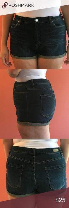 Dark denim shorts These jean shots are calling your name this summer! Super stretchy and comfortable, with a nice dark wash that's perfect for night wear! Plenty of pockets and you can choose the length! Lightly worn Shorts Jean Shorts