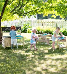 A wee picnic table scaled for the little ones with a removable top that reveals a built-in sand pit. Wooden tabletop and bin insert are removable. Plastic Bins, Outdoor Play Spaces, Outdoor Toys, Indoor Outdoor, Sandpit Table, Kitchen Utensil Storage, Mud Paint, Wooden Picnic Tables