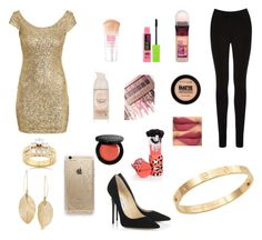 """""""Gold dress Look"""" by hifza on Polyvore featuring H&M, Oasis, Jimmy Choo, Cachet, Kobelli, Lulu*s, Maybelline, BHCosmetics, Bobbi Brown Cosmetics and Rifle Paper Co"""