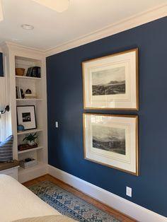Newburyport Blue paint color on walls of bedroom by Benjamin Moore - Design by Sherry Hart. Blue Wall Colors, Door Paint Colors, Bedroom Paint Colors, Paint Colors For Living Room, Blue Dining Room Paint, Navy Blue Bedrooms, Blue Bedroom Walls, Blue Rooms, Blue Walls