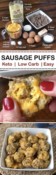 Cheesy Sausage Puffs | An easy low carb and keto recipe for on the go! They're perfect for breakfast and snacks through out the day. Easy Ketogenic Diet, Atkins and Diabetic Recipe for weight loss... low carb but full of flavor!! Instrupix.com