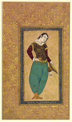 Portrait of a Portuguese, ca. 1630; Safavid School of Riza cAbbasi (ca. 1565–1635) Colors and gilt on paper