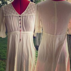Anthropologie Odille Festival Boho Prairie Dress Boho/Festival/Prairie Dress. Light wear. Off white. Used to have an attached belt that was cut off.. Hardly noticeable. Size 2. Size Small. Underarm:16' Waist: 14' Length: 37.5' Anthropologie Dresses Midi