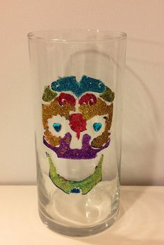 Glitter Painted Sugar Skull Vase by MaidenLongIsland on Etsy
