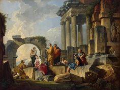 Giovanni Paolo Panini, Prophétie de la Sybille dans les ruines romaines, 1745-1750