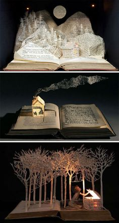 Create a sculpture out of the actual book you are illustrating. book art by su blackwell