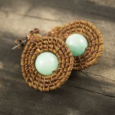Brown fabric earrings - wire wrapped silk and green jade