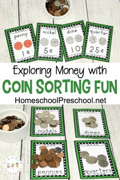 Exploring money with preschoolers is fun with these preschool coin sorting activities. Preschool math is fun when you use real money!