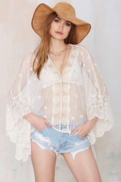 Trouble in Mind Lace Kaftan Top - Shirts + Blouses | Clothes | All | Ménage au Mirage | Cover Ups