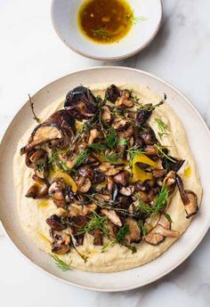 Yotam Ottolenghi, Ottolenghi Recipes, Grilled Mushrooms, Stuffed Mushrooms, Stuffed Peppers, How To Cook Polenta, Garlic Hummus, Mushroom Dish, Appetizer Salads
