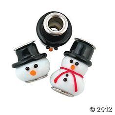 Snowman Lampwork Large Hole Beads