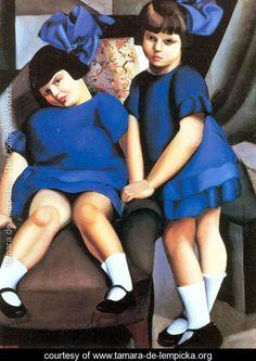 Two Little Girls with Ribbons, 1925 - Tamara de Lempicka - www.tamara-de-lempicka.org