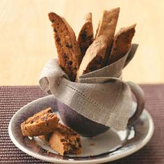 Chai-Chocolate Chip Biscotti Recipe -- from the website:  1 cookie equals 93 calories, 3 g fat (1 g saturated fat), 7 mg cholesterol, 52 mg sodium, 16 g carbohydrate, 1 g fiber, 2 g protein. Diabetic Exchanges: 1 starch, 1/2 fat.