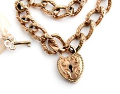 Antique Victorian Gold Filled Heart Lock Bracelet - Rare Signed Designer F Foster and Bailey Repousse Jewelry / Key To Heart Padlock by Maejean Vintage on Etsy, $190.00