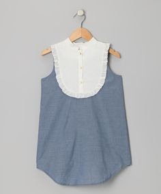 Take a look at the Blush by Us Angels Indigo & Ivory Swiss Dot Bib Chambray Dress - Girls on #zulily today!