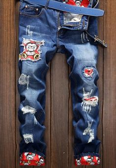 0c08708e 2017 Mens jeans New Fashion Men Casual Jeans High quality hole Jeans long  Jeans Summer Thin Cartoon Printing -in Jeans from Men's Clothing &  Accessories on ...