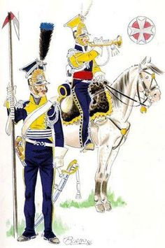 "Cavalryman and trumpeter 7 chevaulegers Lancers (uhlans nadwiślańscy "") in the uniforms of 1812 paradnych Fig. D. Bueno."