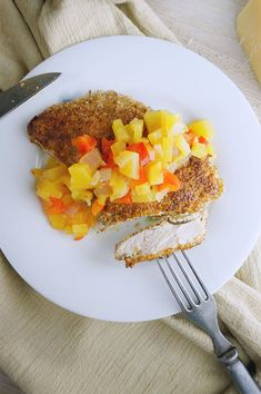 Almond Crusted Chicken with Mango Relish is low carb, clean eating, gluten-free and made with whole foods. Juicy chicken with a delicious crunchy crust.