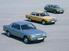 Drei Freunde: Coupé, Limousine und T-Modell der Mercedes-Benz Baureihe 123 (1975 bis 1985) im Gruppenbild.