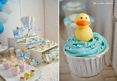 cupcake in the colors of the party for this rubber duck themed party