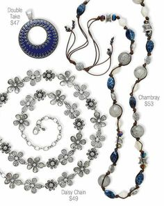 Jewelry: Silver, white and blue!