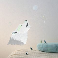 Fabric Wall Decal  Howling Wolf reusable NO PVC by LoveMaeStore, $45.00