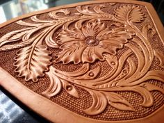 Sheridan work close-up-SR Leather Stamps, Leather Art, Custom Leather, Leather Tooling, Saddle Leather, Tooled Leather, Leather Craft Tools, Leather Projects, Mens Leather Accessories