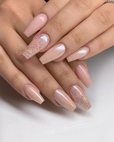 """""""Frosted Nude Caramel"""" and white chrome - Beautiful nude nails Acrylic Nail Designs Glitter, Chrome Nails Designs, Best Acrylic Nails, Red Wedding Nails, Wedding Nails Design, Nude Nails, My Nails, Neutral Nails, White Chrome Nails"""