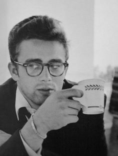 James Dean. coffee and glasses. <3