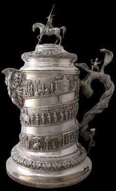 Massive Silver Water Jug by P. Orr  Sons Madras, India circa 1890