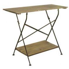 Klapbord med hylde og jernstel i træ