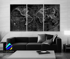 LARGE 30x 60 3 Panels Art Canvas Print world Map Old by BoxColors