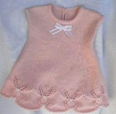 Lace baby jacket (knit with cr Knitting For Kids, Baby Knitting Patterns, Free Knitting, Baby Vest, Baby Cardigan, Baby Boy, Tricot Simple, Tricot Baby, Pull Bebe