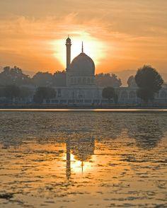 Hazratbal Mosque at Sunset on Dal Lake ~ Srinagar, Kashmir, India
