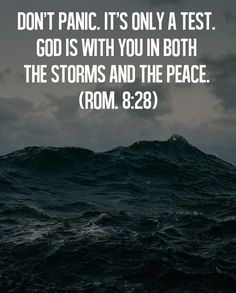 Don't panic. It's only a test. God is with you in both the storms and the peace ~~I Love Jesus Christ