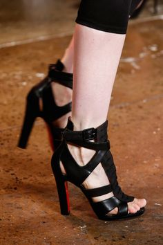Christian Louboutin for Peter Som Black Strappy Platform Sandals Spring 2014 #CL #Shoes #Heels