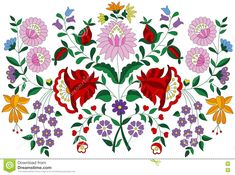 Hungarian Embroidery Folk Pattern From Kalocsa Region Stock Vector - Illustration of hungary, lily: 76296677 Hungarian Embroidery, Folk Embroidery, Learn Embroidery, Hand Embroidery Designs, Embroidery Patterns, Butterfly Embroidery, Chain Stitch Embroidery, Embroidery Stitches, Bordado Popular