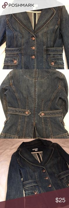 LOFT! Anne Taylor Jean Jacket size 4 Anne Taylor Jean jacket in a size 4. This jacket has a few buttons in the front. This jacket is great for the fall and winter. LOFT Jackets & Coats Jean Jackets
