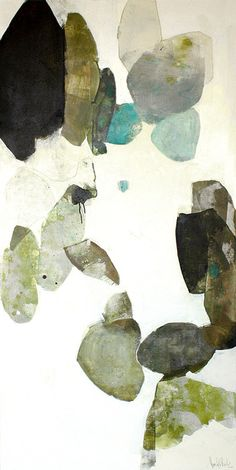 meredith pardue - individual collage-like shapes, similar colour field, works with small 3 turquoise shapes