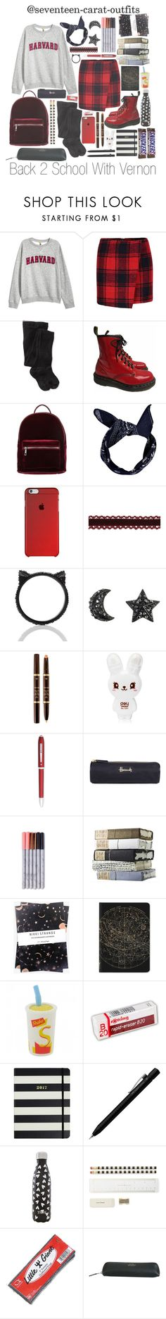 """""""Back 2 School with Vernon"""" by seventeen-carat-outfits ❤ liked on Polyvore featuring H&M, Smartwool, Dr. Martens, even&odd, Boohoo, Kate Spade, Tom Ford, Cross, Harrods and Nikki Strange"""