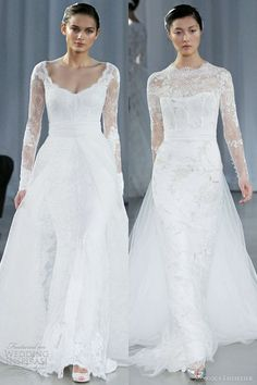 I actually really like the one on the left. lhuillier long sleeve wedding dresses fall 2013 memory serendipity | http://your-amazing-wedding-dress-photos.blogspot.com