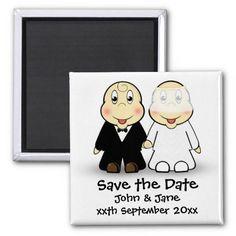 Cute Cartoon Bride and Groom Couple Save the Date Magnet Unique Save The Dates, Save The Date Magnets, Cute Cartoon, Getting Married, Groom, Dating, Wedding Ideas, Bride, Couples