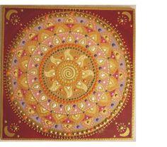 dark red-pink-gold Sun-spiral mandala